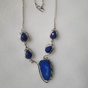 Deep blue agate & lapis sterling silver necklace